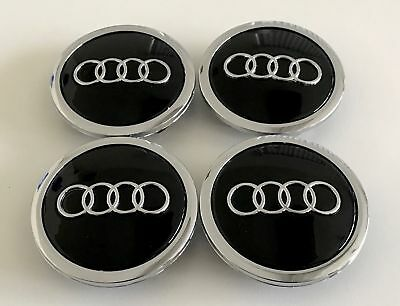 for Audi Wheel Center Cap Car Emblem Badge Logo Cover Hub Black 69mm 4pcs/set