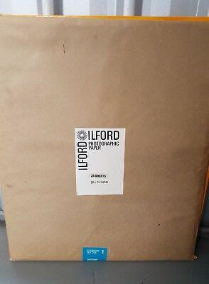 "New Unopened Ilford Photographic Paper ""Velvet Stipple"" 25 sheets 20x24 inches"