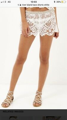 River Island Lace White Pacha Shorts Size Medium Holiday Summer