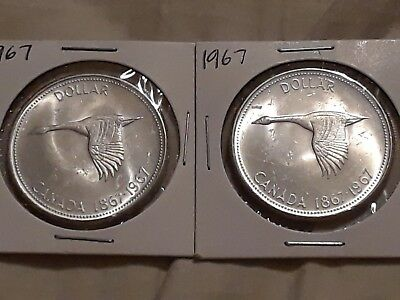 Lot of 2 1967 Canadian Silver Dollar ($1)