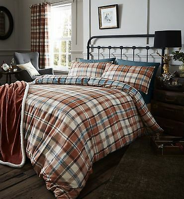 Catherine Lansfield Heritage Kelso Check Duvet Set, Spice, Double
