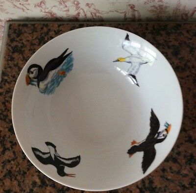 "Rare Jersey Pottery Richard Bramble Large 10"" Bowl With Puffins And Sea Birds"