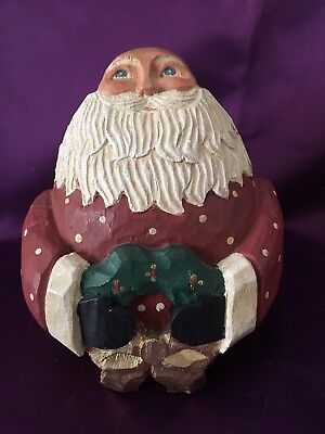 Bald Santa by James Haddon. Hand Carved and Painted Wood