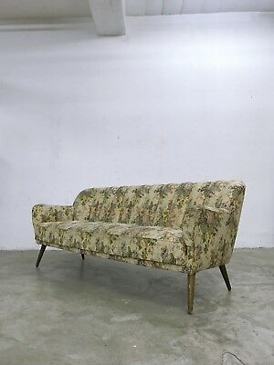 Vintage 1940s 1950s Art Deco Mid Century Sofa Vintage Floral Pattern Upholstery