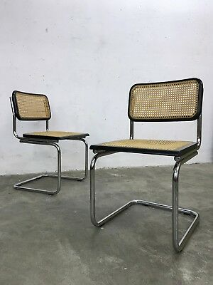 Pair of 70s/80s Bauhaus Modernist Cesca Dining Chairs in Chrome and Rattan