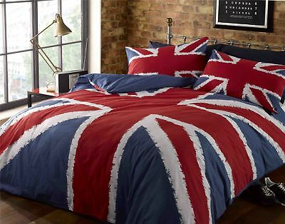 Union Jack UK Flag Red White Blue Bedding - Single