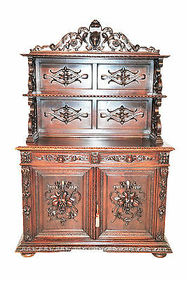 Attractive Antique French Hunt Cabinet, Buffet or Server , Turn of the Century