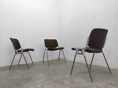 1of3 Stackable Upholstered Conference Chairs by Giancarlo Piretti for Castelli