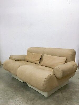 Vintage 60s/70s Loveseat Leather Sofa 'Sofaletten' designed in 1967 by Otto Zapf