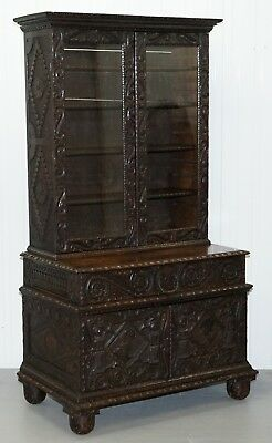 Original 18Th Century Circa 1740 Solid English Oak Hand Carved Bookcase Cabinet