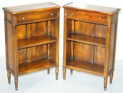 Matching Pair Of Theodore Alexander Republic Low Bookcases With Single Drawer
