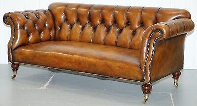 Very Rare Victorian Howard & Sons Fully Restored Brown Leather Chesterfield Sofa