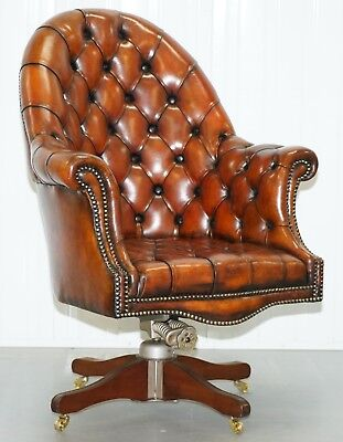 Restored 1920's Hillcrest Chesterfield Brown Leather Directors Captains Chair