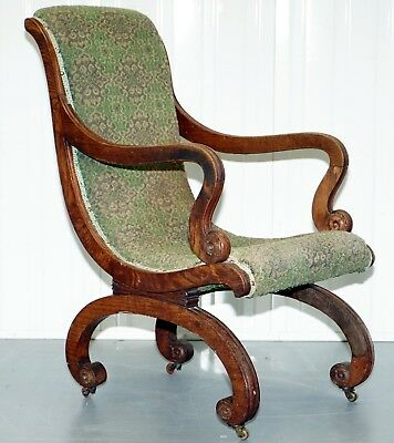 Original Rosewood Framed William Iv Library Reading Slipper Armchair Circa 1830