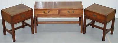 £3800 Harrods London Campaign Side End Lamp Wine Tables Pair & Coffee Table