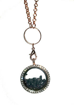 Titanic coal & glass Rose Gold Plated Necklace see-through Round Locket W/ COA