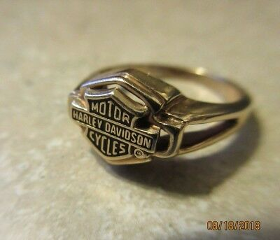 10K Yellow Gold Harley Davidson Lovely Ladies Ring Size 7 No Reserve