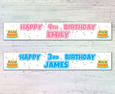 2 personalised banners birthday cake 1st 2nd 3rd 4th 5th 6th 7th 8th