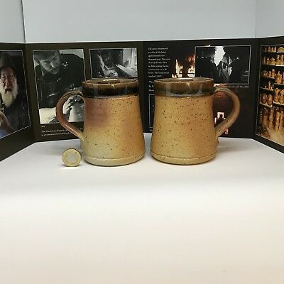Stunning pair Muchelney (John Leach) Pottery Mugs and 50yr Celebration Brochure