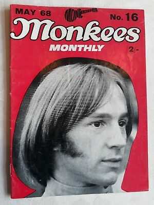 The Monkees Monthly Magazine Number 16 May 1968 Vg Condition