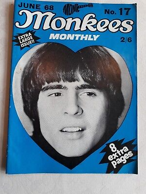 The Monkees Monthly Magazine Number 17 June 1968 Vg Condition