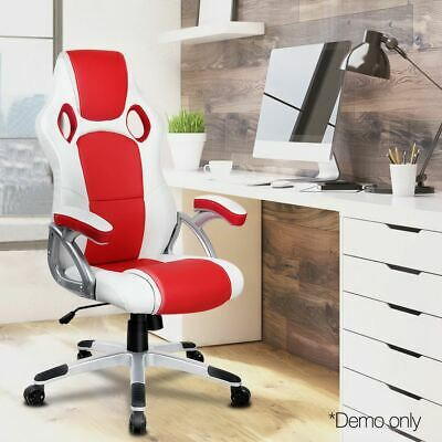 Executive Gaming Office Chair Racing Computer PU Leather Tilt Swivel Seat Red
