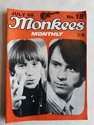 The Monkees Monthly Magazine Number  18 July 1968 Vg Condition