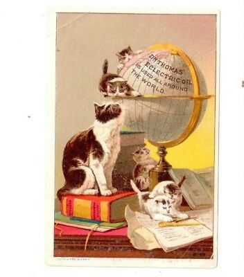 Dr Thomas Eclectric Oil Cats Globe Victorian Trade Card Shippensburg PA