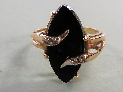 14k Yellow Gold Women's Vintage Black Onyx and Diamond Ring Ladies Size 6.5