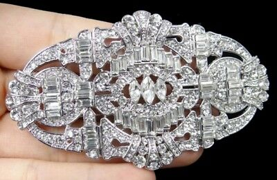 High End Estate ART DECO STYLE RESIN & RHINESTONE BROOCH PIN COSTUME Jewelry