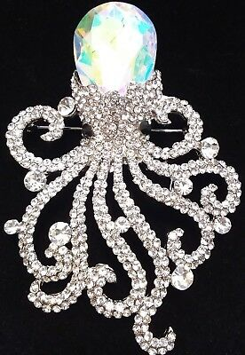 MASSIVE High End Estate CLEAR RHINESTONE & AB GLASS CRYSTAL OCTOPUS Brooch Pin