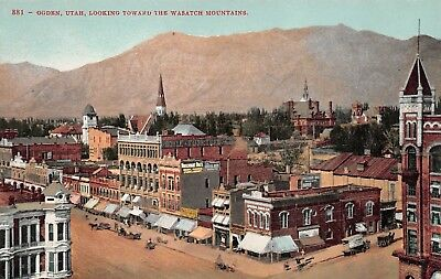 Ogden Utah looking toward Wasatch Mountains Vintage Mitchell Pub