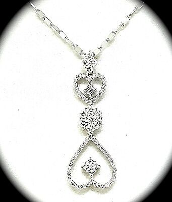 """18k White Gold And Diamond Heart Pendant  With16"""" 14k Chain"""