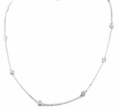 """14K White Gold Station Necklace With """"Diamonds By The Yard"""" 1.02CTS"""