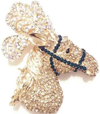 AMAZING High End Estate AB RHINESTONE FEATHERS CIRCUS SHOW HORSE HEAD BROOCH PIN