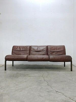 Vintage Swiss Design 1970s Maroon Color Leather Sofa + Tabouret + Table by Sitag
