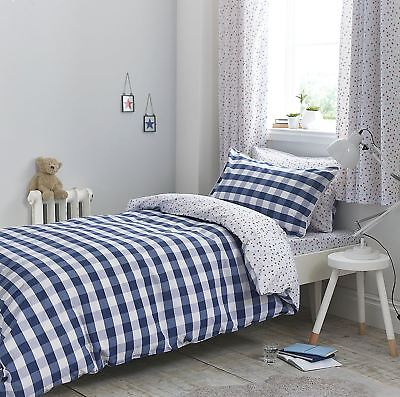 Bianca 100% Cotton Gingham Cotton Print - Navy Blue Double Duvet Cover Set