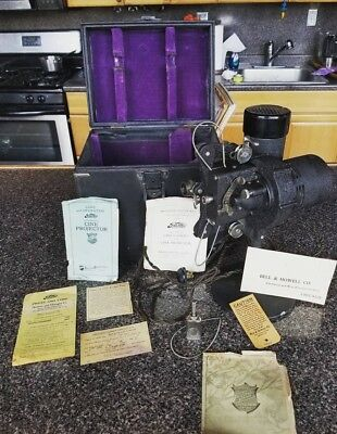 Antique Bell & Howell Movie Projector w Case Paperwork 1926 Sale Rare 17507