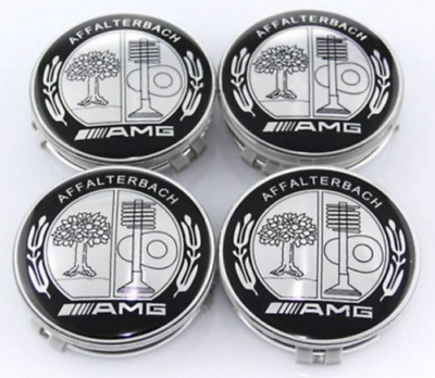 4Pcs AFFALTERBACH Silver Tree Wheel Center Cap Emblem for Mercedes Benz AMG 75mm