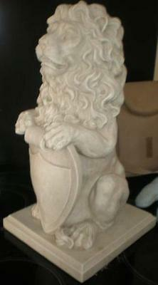 Large Standing Lion with Shield Latex Mould, Garden Patio Ornament