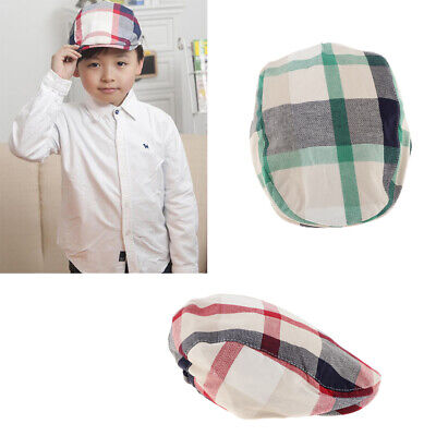 2Pcs Boys kids Baby Children Summer Plaid 100% Cotton Beret Hat Cap 3-8Years