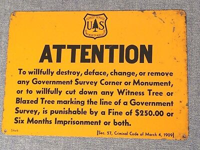 """Vintage 1954 U S Dept of Agriculture Forest Service Painted Tin Sign 10"""" x 7"""""""