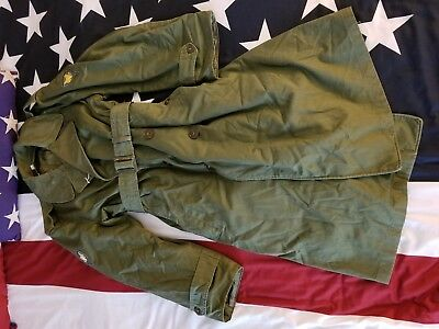 M1950 Trench Over Coat w/ Wool Liner Medium US Army E-4 Specialist 3rd Class
