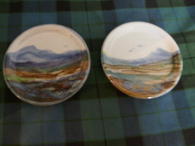 NEW Two Highland Scottish Stoneware Pottery Coasters Small Dishes Pin Trays