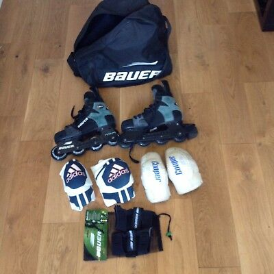 Bauer Inline Roller Hockey Skates inc knee pads, elbow pads, wrist pads and bag