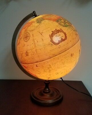 Vintage 1980 SCAN-GLOBE World Discoverer Lighted World Globe With Wood Base RARE