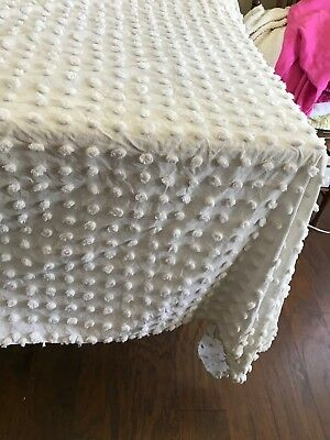 LARGE WHITE TUFTS hand tufted candlewick chenille bedspread ANTIQUE RESCUED