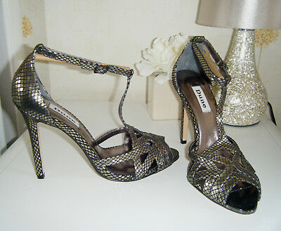 """NEW DUNE Gold Leather 4 1/8"""" Stiletto High Heel Shoes Size 5/38 Ex Con"""