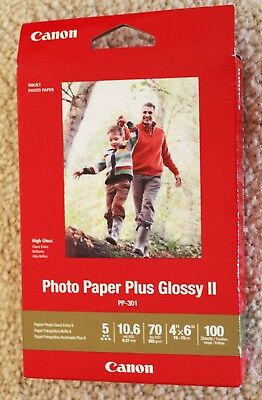 Canon Photo Paper Plus Glossy II 4X6 100 Sheets! PP-301 - Free Priority Shipping