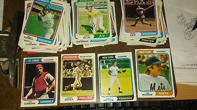 Lot of 100 1974 Topps Vintage Baseball Cards - Mid-Grade - VG to EX-MT